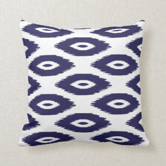 Navy Blue and White Tribal Ikat Dots Cushion