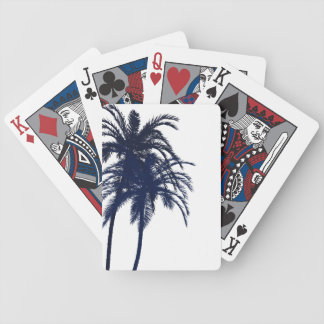 Navy Blue and White Tropical Palm Tree Bicycle Playing Cards