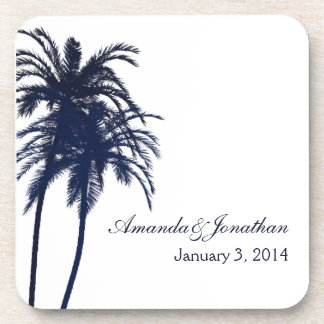 Navy Blue and White Tropical Palm Tree Coaster