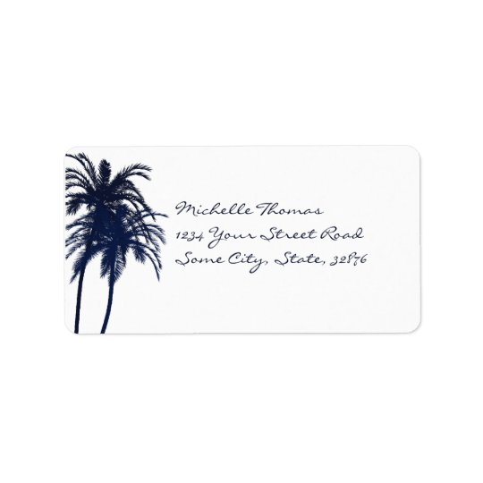 Navy Blue and White Tropical Palm Tree Label