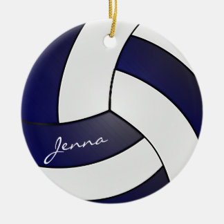 Navy Blue and White Volleyball | DIY Name Christmas Ornament