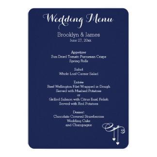 Navy Blue And White Wedding Menu 13 Cm X 18 Cm Invitation Card