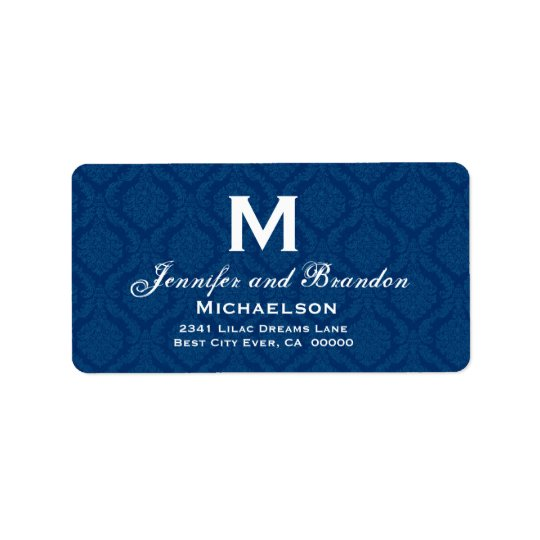 Navy Blue and White Wedding Monogram Personalised Label