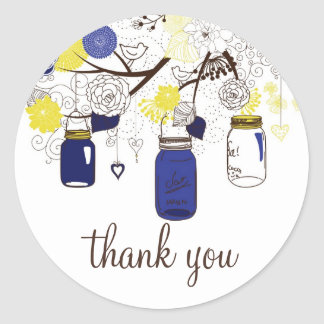 Navy Blue and Yellow Mason Jars Thank You Sticker