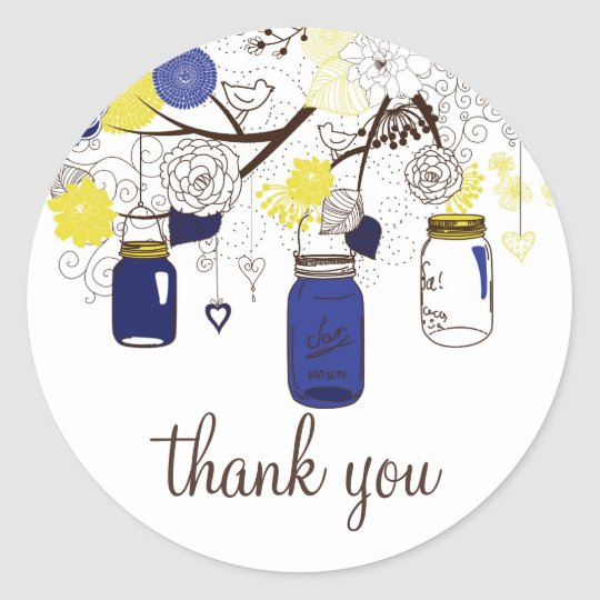 Navy Blue and Yellow Mason Jars Thank You