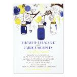 Navy Blue and Yellow Mason Jars Wedding Invitation