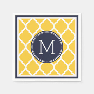 Navy Blue and Yellow Quatrefoil Wedding Monogram Disposable Napkins