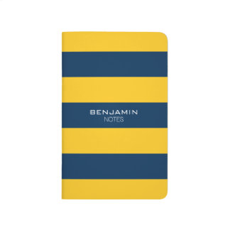 Navy Blue and Yellow Rugby Stripes Custom Name Journals