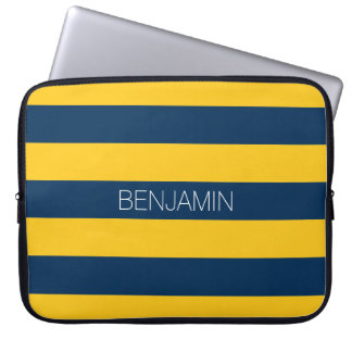 Navy Blue and Yellow Rugby Stripes Custom Name Laptop Sleeve