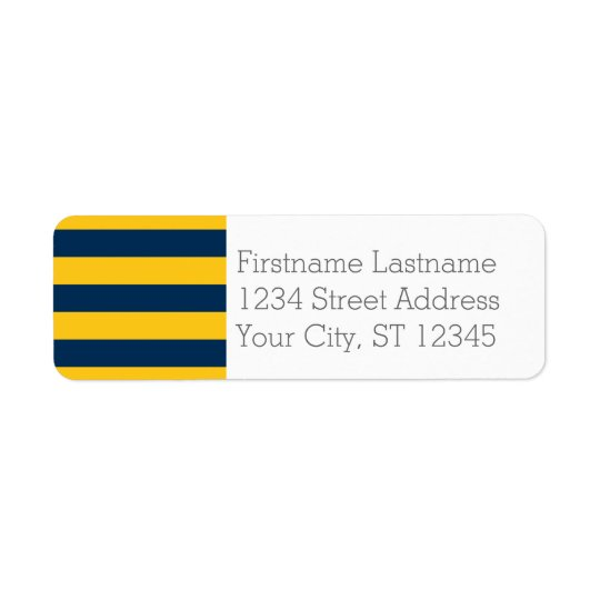 Navy Blue and Yellow Rugby Stripes Custom Name Return Address Label