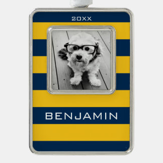 Navy Blue and Yellow Rugby Stripes Custom Name Silver Plated Framed Ornament