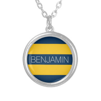 Navy Blue and Yellow Rugby Stripes Custom Name Silver Plated Necklace