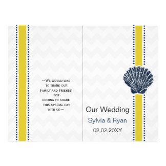 Navy Blue and Yellow Seashell Wedding Stationery 21.5 Cm X 28 Cm Flyer