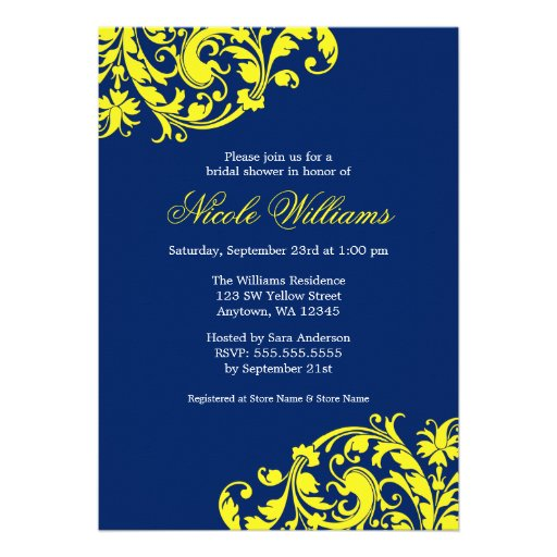 Navy Blue And Yellow Swirl Flourish Bridal Shower 13 Cm X