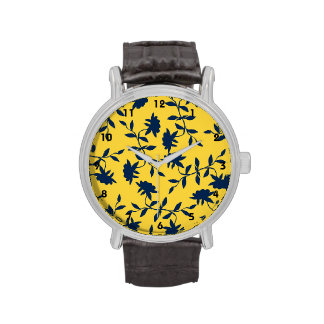 Navy Blue and Yellow Tropical Floral Pattern Watch