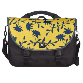 Navy Blue and Yellow Tropical Floral Pattern Laptop Messenger Bag