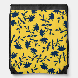 Navy Blue and Yellow Tropical Floral Pattern Drawstring Backpack