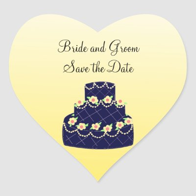 Navy Blue and Yellow Wedding Cake Sticker by seashell2
