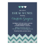 Navy Blue Aqua Chevron Bridal Shower Invitation 13 Cm X 18 Cm Invitation Card