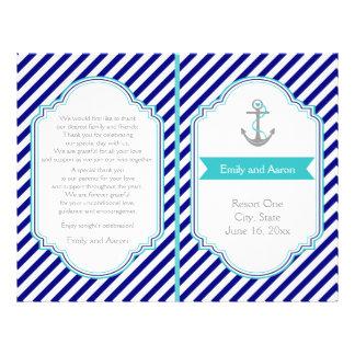 Navy blue, aqua nautical wedding program flyer