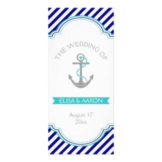 Navy blue, aqua nautical wedding program rack card