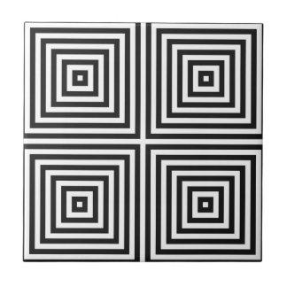 Navy Blue Art Concentric Squares on White BG Small Square Tile