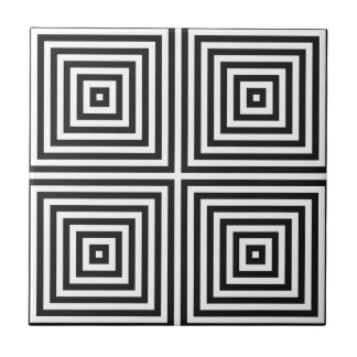 Navy Blue Art Concentric Squares on White BG Tile