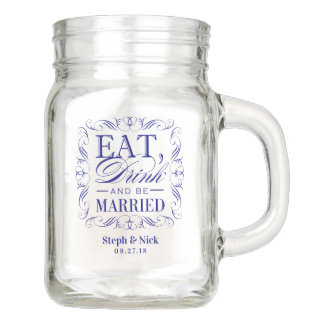 Navy blue at drink and be married wedding mason jar