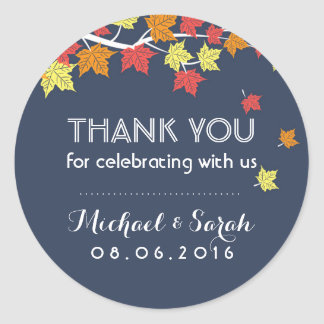 Navy Blue Autumn Maple Leaves Thank You Sticker