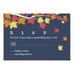 Navy Blue Autumn Wedding RSVP Card Maple Leaves 9 Cm X 13 Cm Invitation Card