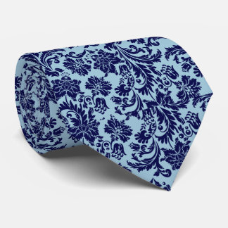 Navy Blue & Baby Blue Floral Paisley Pattern Tie