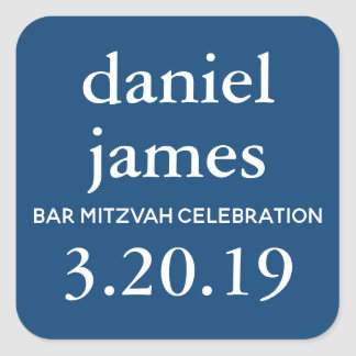 Navy Blue Bar Mitzvah Favor Tag