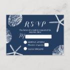 Navy Blue Beach Theme Seashells Wedding RSVP