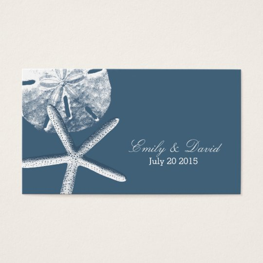 Navy Blue Beach Theme Wedding Website Insert Card
