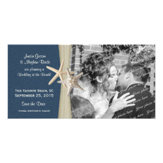 Navy Blue Beach Wedding Starfish Save the Date Personalized Photo Card