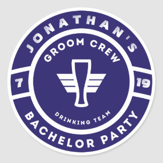 Navy Blue Beer Badge Bachelor Party Branding Classic Round Sticker