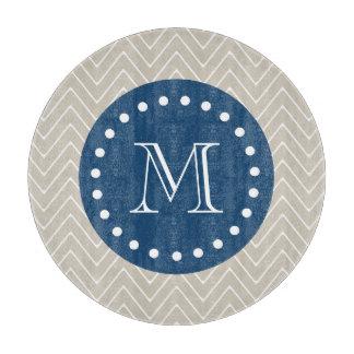 Navy Blue, Beige Chevron Pattern | Your Monogram Cutting Board