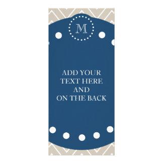 Navy Blue Beige Chevron Pattern Your Monogram Personalized Rack Card