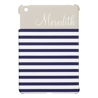 Navy Blue & Beige Preppy Stripes Custom Monogram Cover For The iPad Mini