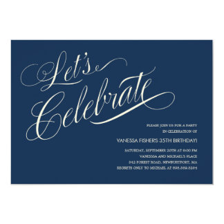 "Navy Blue Birthday Invitations for Adults 5"" X 7"" Invitation Card"