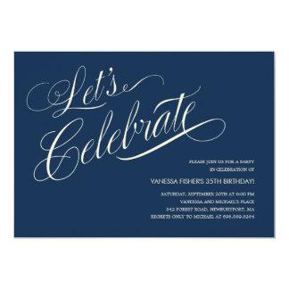 "Navy Blue Birthday Invitations for Adults 5"" X 7"" Invitation Card"