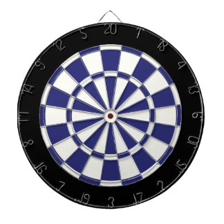 Navy Blue Black And White Dartboard With Darts