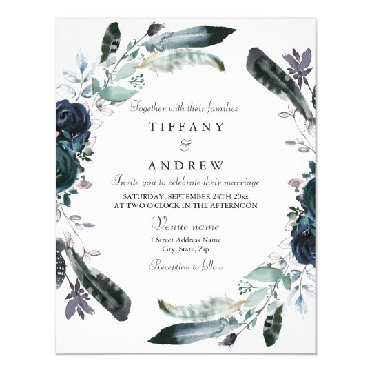 Navy Blue Black Floral Wreath Wedding Invitation
