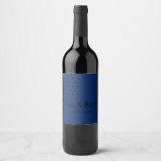 Navy blue black modern squares wine bottle labels