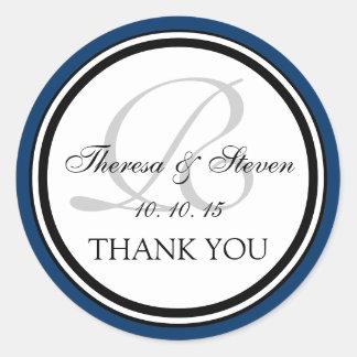 Navy Blue Black Monogram R Wedding Thank You Round Sticker