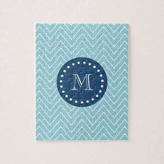 Navy Blue, Blue Chevron Pattern | Your Monogram Jigsaw Puzzle