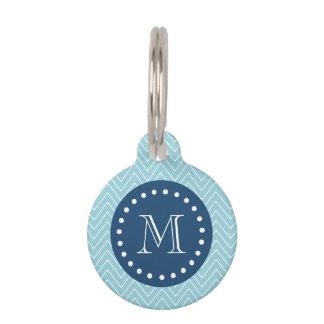 Navy Blue, Blue Chevron Pattern | Your Monogram Pet Tag