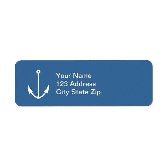 Navy blue boat anchor return address labels