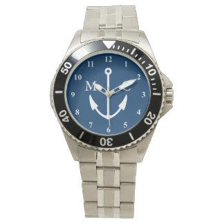 Navy blue boat anchor watch | sailing monogram