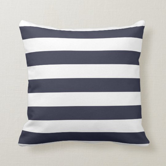 Navy Blue Bold Striped Pillow